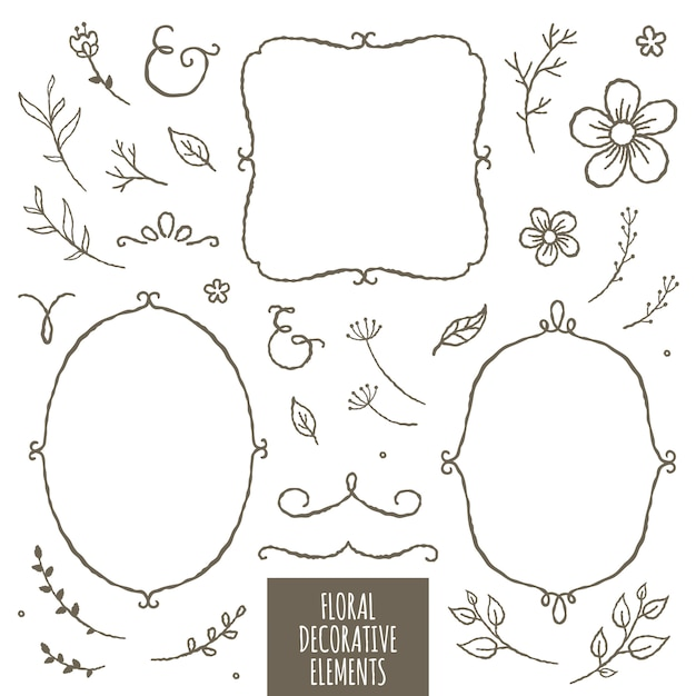 Éléments décoratifs floraux Vecteur Premium