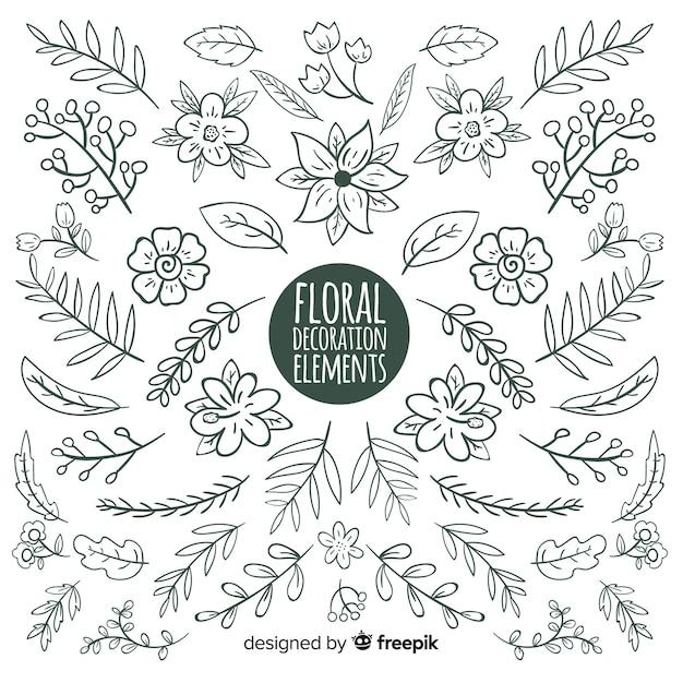 Éléments de décoration florale dessinés à la main Vecteur gratuit