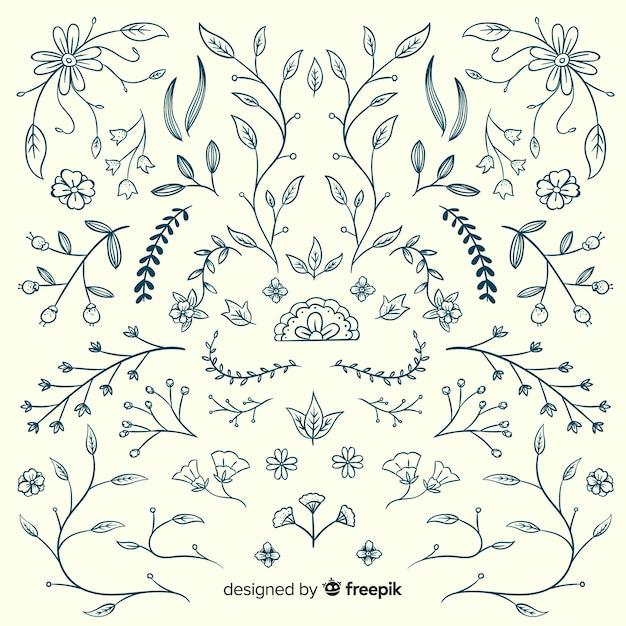 Éléments de décoration florale Vecteur gratuit