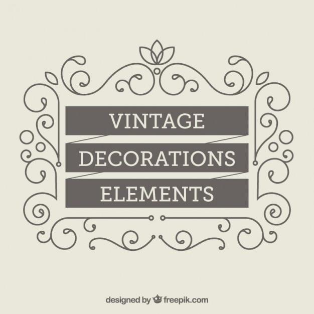 Éléments de décoration vintage Vecteur gratuit