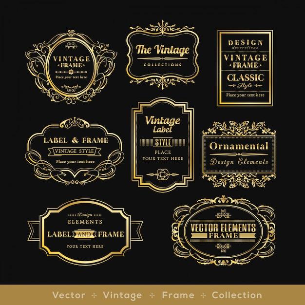 Éléments de design de cadre logo rétro or badge vinage Vecteur gratuit