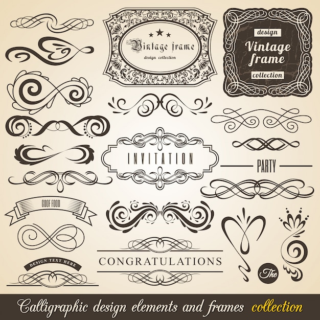 Éléments de design calligraphiques et cadres Vecteur Premium