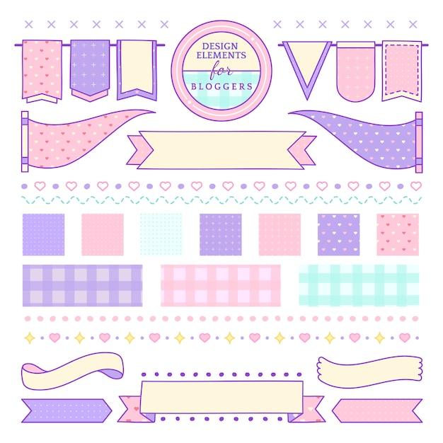 Éléments de design mignons et girly pour le vecteur de blogueurs Vecteur gratuit