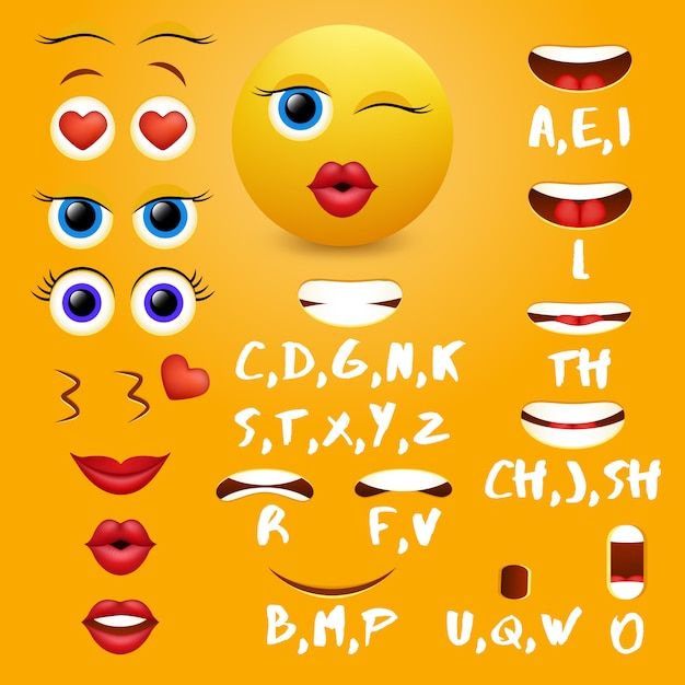 Éléments de design vectoriels emoji femelle bouche animation Vecteur Premium