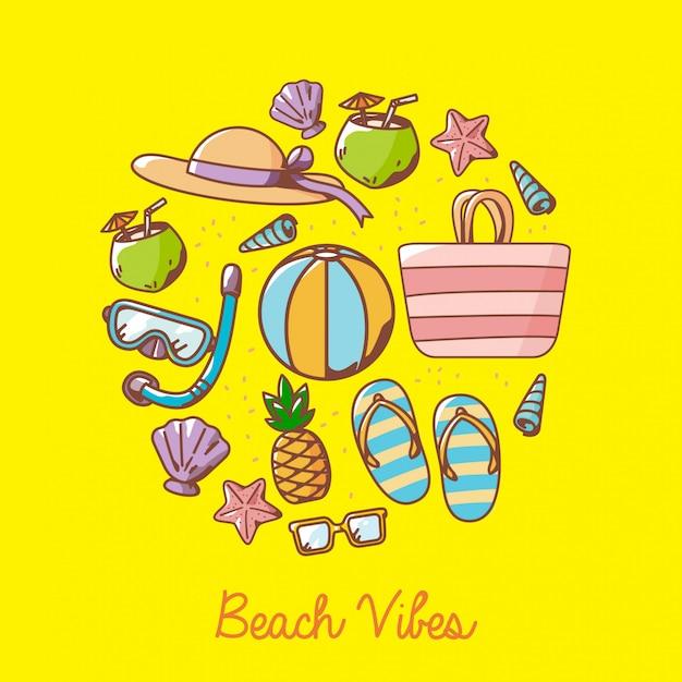 Éléments de dessin animé de plage Vecteur Premium