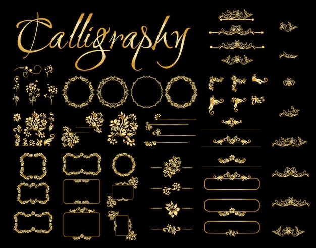Éléments De Dessin Calligraphique Doré Sur Fond Noir. Vecteur gratuit