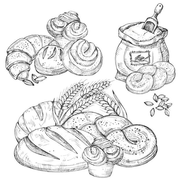 Éléments dessinés à la main de boulangerie vecteur pour menu, dépliants, bannière, Vecteur Premium