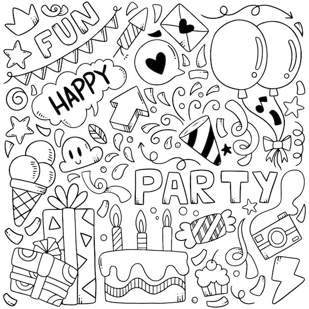 Éléments dessinés à la main parti doodles Vecteur Premium