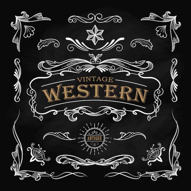 Éléments dessinés à la main western encadrent étiquette tableau vintage banne Vecteur Premium