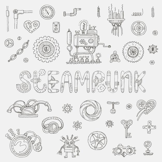 Éléments De Doodle Steampunk Vecteur Premium