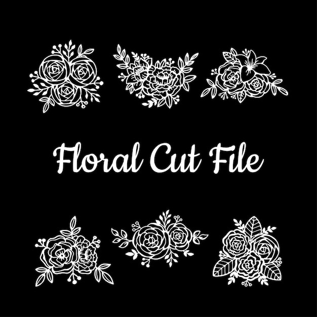 Éléments De Dossier De Belle Coupe Florale Vecteur Premium