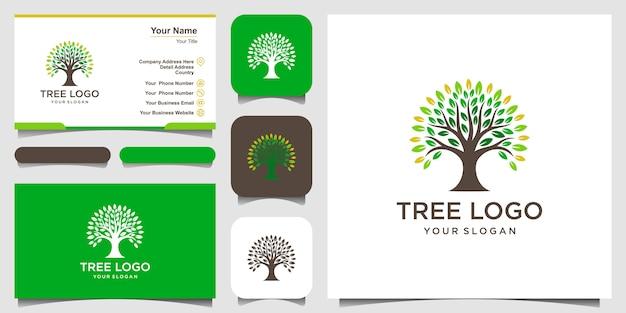 Éléments Du Logo De L'arbre. Modèle De Logo De Jardin Vert Et Conception De Carte De Visite Vecteur Premium