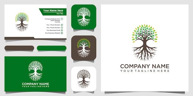 Éléments Du Logo Arbre Et Racines. Modèle De Logo De Jardin Vert Et Conception De Carte De Visite Vecteur Premium