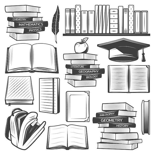 Éléments D'éducation Vintage Sertis De Livres Scolaires Manuels Sac Apple Graduation Cap Plume Isolé Vecteur gratuit