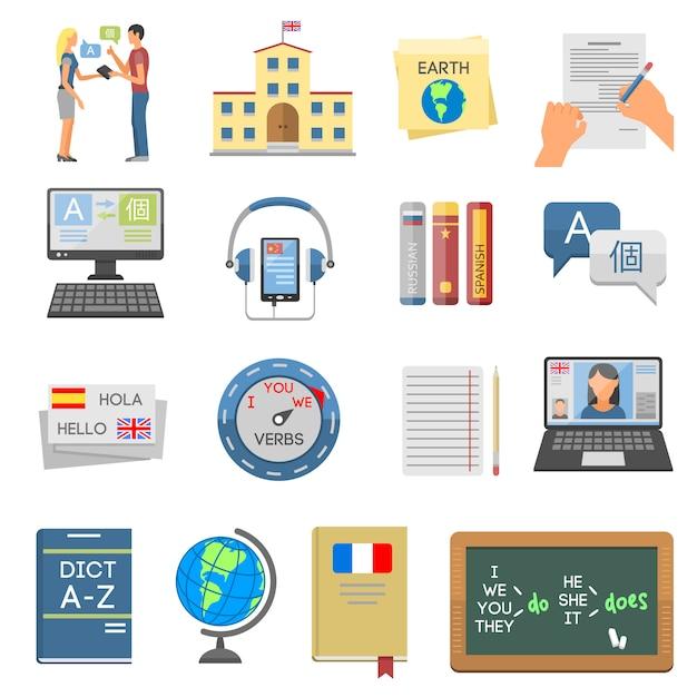 Éléments D'enseignement Des Langues Et D'apprentissage Scolaire Vecteur Premium