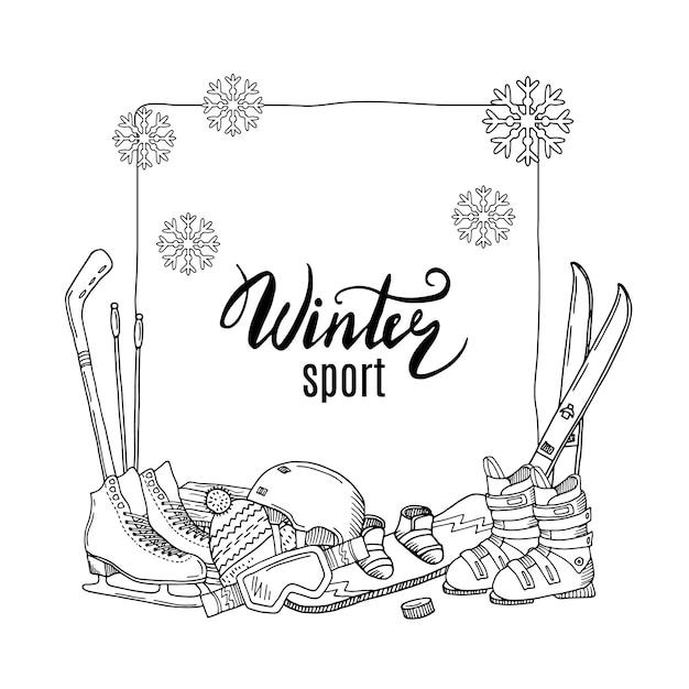 Éléments d'équipement de sports d'hiver dessinés à la main s'empilent sous le cadre Vecteur Premium