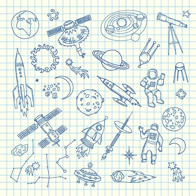 Éléments de l'espace doodle. éléments de navette spatiale dessinés à la main de vecteur Vecteur Premium