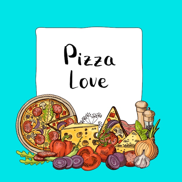 Les éléments esquissés de pizza italienne s'empilent sous le cadre avec la place pour le texte Vecteur Premium