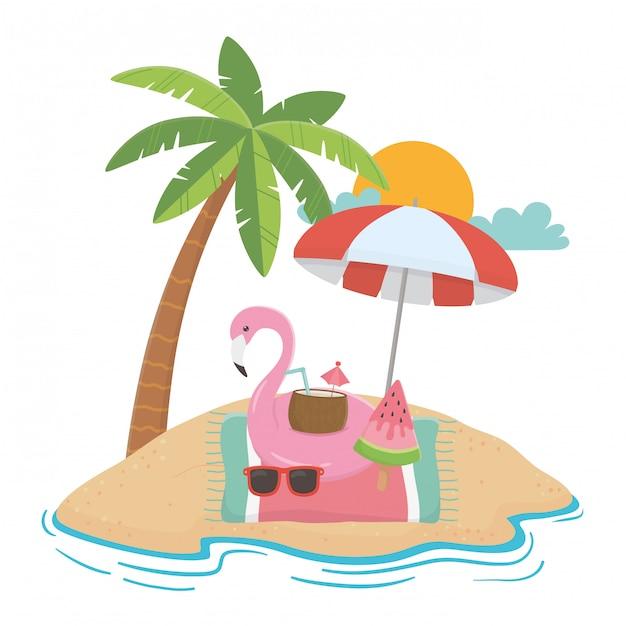 Éléments d'été et de vacances Vecteur Premium