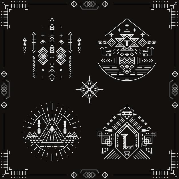 Éléments Ethniques Tribaux De Vecteur. Ornement De Modèle, Illustration Indienne Aztèque Traditionnelle à La Mode, Native Vecteur gratuit