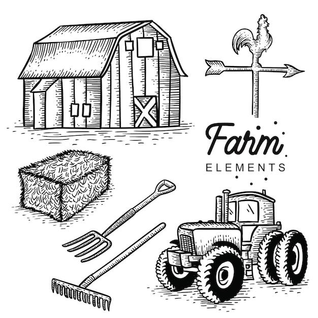Éléments de la ferme dessinés à la main Vecteur Premium