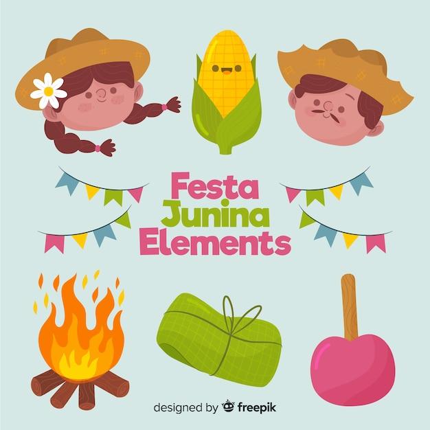 Éléments de la festa junina Vecteur gratuit