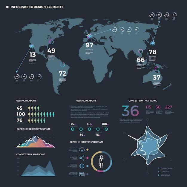 Éléments de fine ligne d'infographie. modèle infographie métier Vecteur Premium
