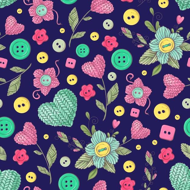 Éléments et fleurs tricotées à la main de modèle sans couture Vecteur Premium