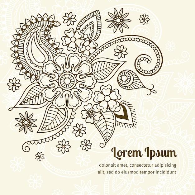 Éléments floraux dans le style indien mehndi Vecteur Premium