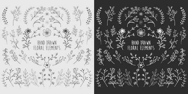 Éléments floraux dessinés à la main Vecteur Premium