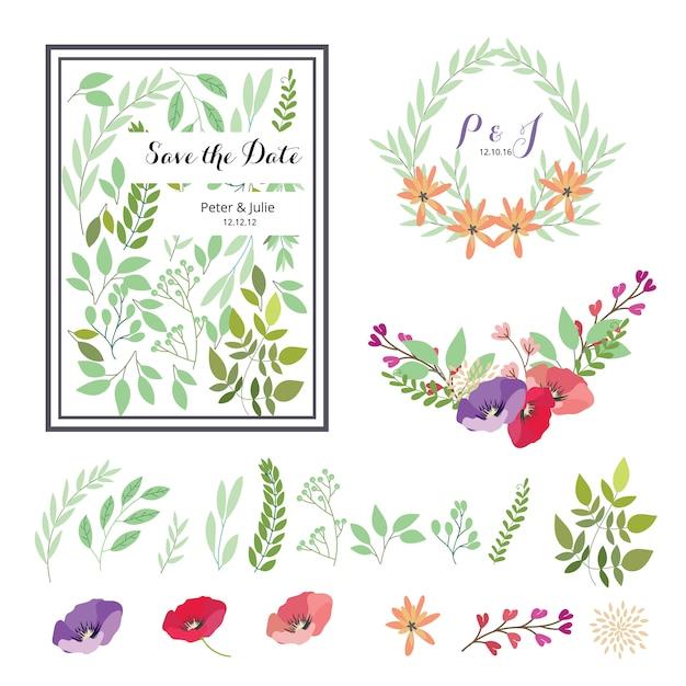 Éléments floraux pour les mariages Vecteur gratuit