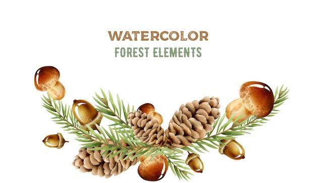 Éléments de la forêt aquarelle aux champignons Vecteur Premium