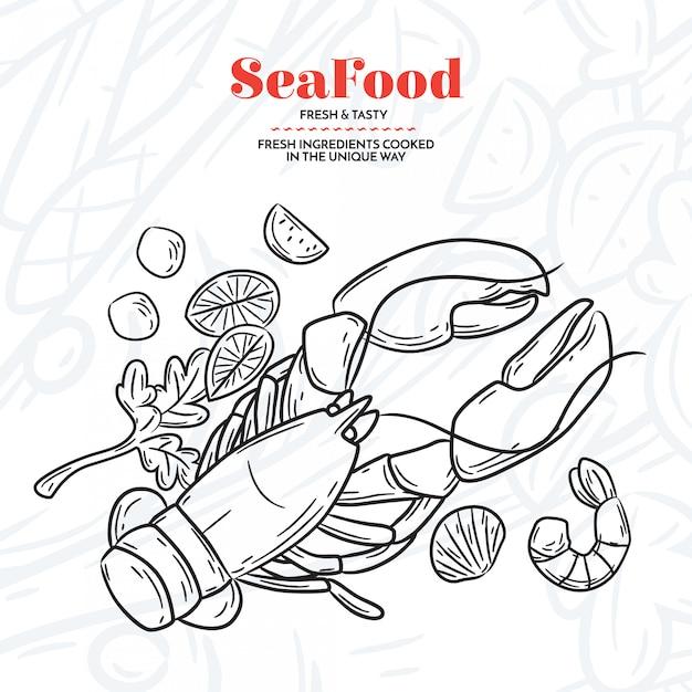 Éléments de fruits de mer dessinés à la main Vecteur gratuit