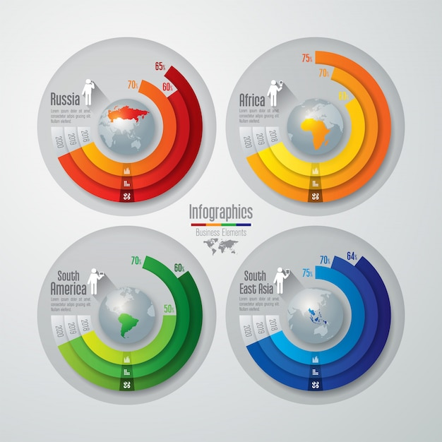 Éléments graphiques colorés pour la russie, l'afrique et l'asie du sud-est Vecteur Premium