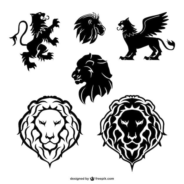 Éléments graphiques de lion fixés Vecteur gratuit