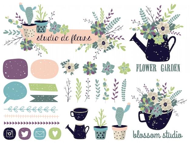 Éléments graphiques de printemps sertie de fleurs. Vecteur Premium