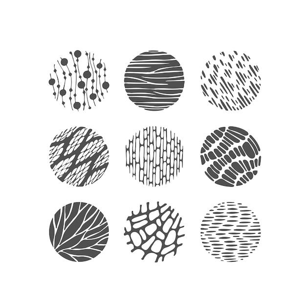 Éléments Graphiques Texturés Noirs, Cercles De Motifs, Décorations Monochromes Rondes. Vecteur Premium