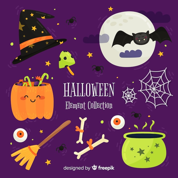 Éléments halloween collection Vecteur gratuit
