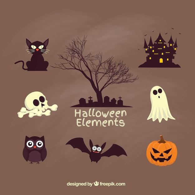 Éléments de halloween creepy Vecteur gratuit