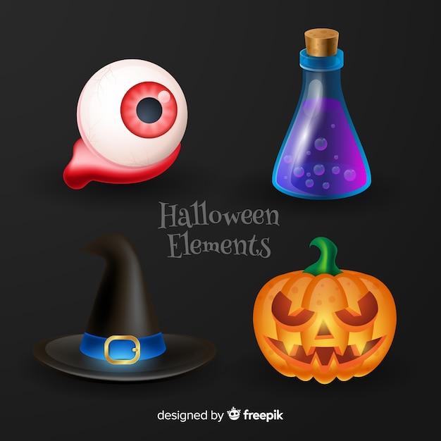 Éléments d'halloween sur fond noir Vecteur gratuit