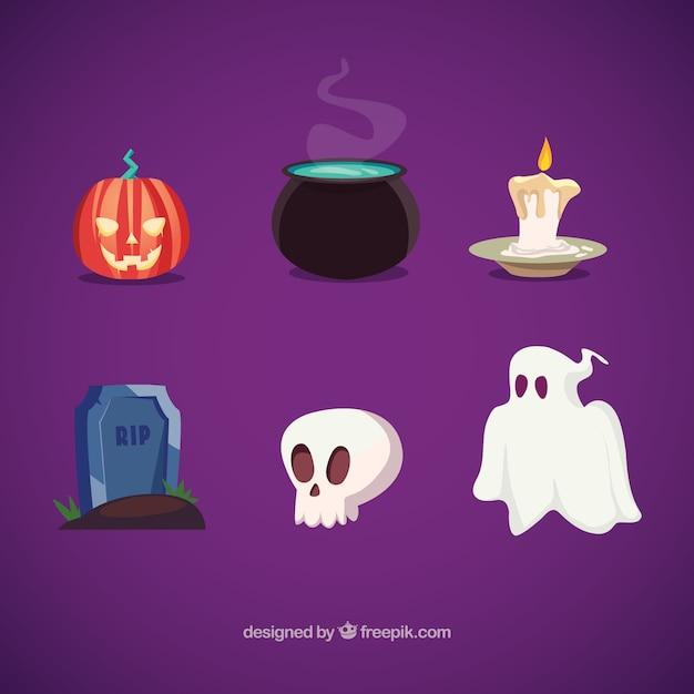 Éléments halloween illustration Vecteur gratuit