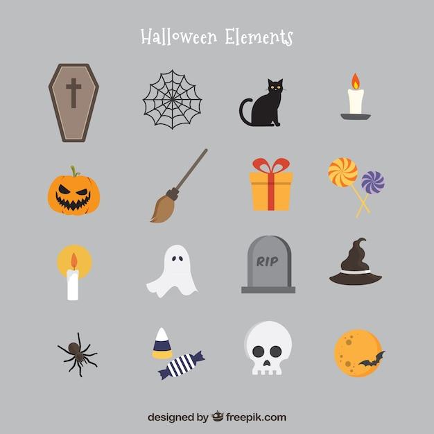 Eléments de halloween en style icônes Vecteur gratuit