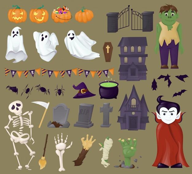 Éléments d'halloween Vecteur Premium