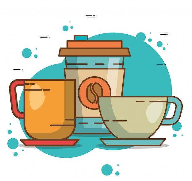 Éléments de l'heure du café délicieux Vecteur gratuit