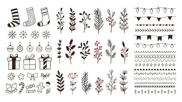 Éléments D'hiver Ornementaux Dessinés à La Main. Flocon De Neige De Noël Doodle, Branches Florales Et Bordures Décoratives Vecteur Premium