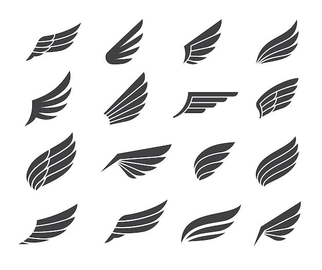 Éléments D'icône Black Wing Vecteur Premium