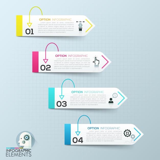 Éléments d'infographie 3d papier abstraite de vecteur Vecteur Premium