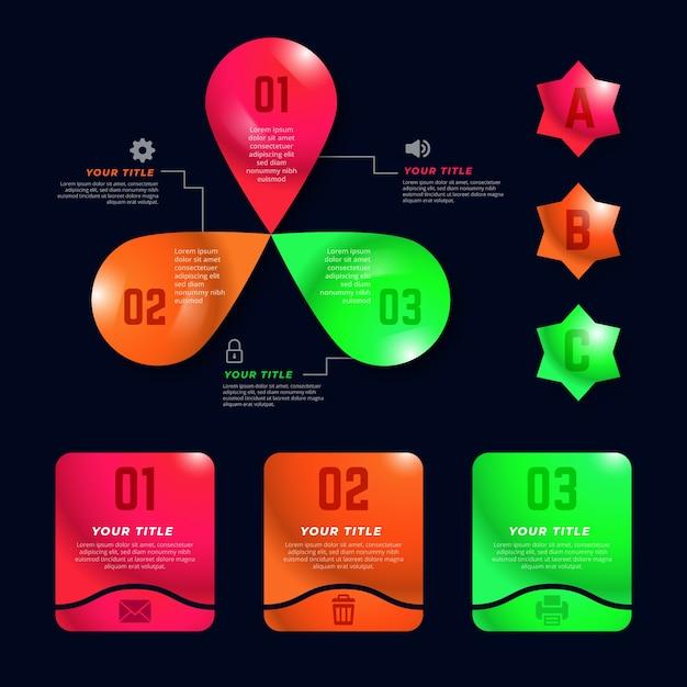 Éléments d'infographie brillants réalistes Vecteur gratuit