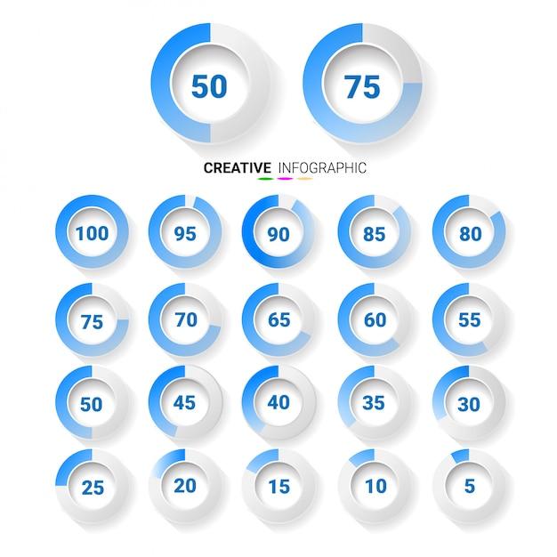 Éléments d'infographie cercle graphique avec indication des pourcentages, couleur bleue. Vecteur Premium