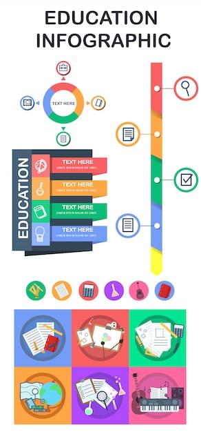 Éléments d'infographie de l'éducation et logos Vecteur Premium